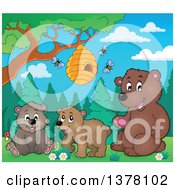 Clipart Of A Group Of Brown Bears Under A Bee Hive Royalty Free Vector Illustration by visekart