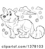 Clipart Of A Black And White Happy Arctic Fox Royalty Free Vector Illustration by visekart