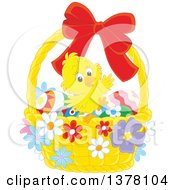 Happy Chick In A Basket Of Easter Eggs And Flowers