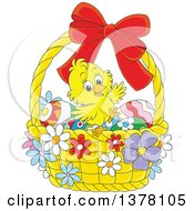 Clipart Of A Happy Yellow Chick In A Basket Of Easter Eggs And Flowers Royalty Free Vector Illustration