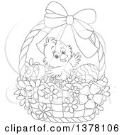 Clipart Of A Black And White Happy Chick In A Basket Of Easter Eggs And Flowers Royalty Free Vector Illustration