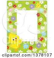 Poster, Art Print Of Vertical Border Frame Of A Cute Yellow Chick With Flowers On Green Around Text Space