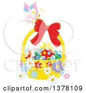 Clipart Of A Butterfly On A Bow Of A Basket Of Easter Eggs And Flowers Royalty Free Vector Illustration