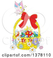 Clipart Of A Butterfly On A Basket Of Easter Eggs And Flowers Royalty Free Vector Illustration