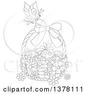 Clipart Of A Black And White Butterfly On A Basket Of Easter Eggs And Flowers Royalty Free Vector Illustration
