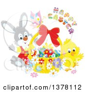 Clipart Of A Happy Easter Greeting Over A Butterfly Bunny And Chick With A Basket Of Eggs Royalty Free Vector Illustration