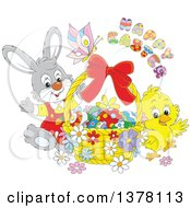 Clipart Of A Happy Easter Greeting Over A Butterfly Bunny Rabbit And Chick With A Basket Of Eggs Royalty Free Vector Illustration
