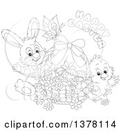 Clipart Of A Black And White Happy Easter Greeting Over A Butterfly Bunny Rabbit And Chick With A Basket Of Eggs Royalty Free Vector Illustration