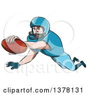 Clipart Of A Sketched Caricutre Styled American Football Player In A Touchdown Royalty Free Vector Illustration