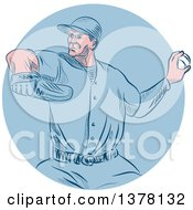Clipart Of A Retro Sketched Or Engraved White Male Baseball Player Pitching In A Blue Circle Royalty Free Vector Illustration