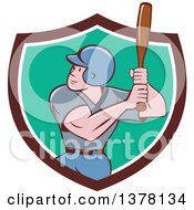 Poster, Art Print Of Retro Cartoon White Male Baseball Player Athlete Batting In A Brown White And Turquoise Shield