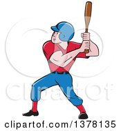 Poster, Art Print Of Retro Cartoon White Male Baseball Player Athlete Batting