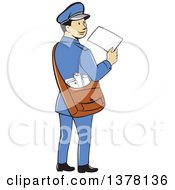 Retro Cartoon Happy Mail Man Holding An Envelope And Looking Back Over His Shoulder