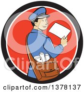 Clipart Of A Retro Cartoon Happy Mail Man Holding An Envelope And Looking Back Over His Shoulder In A Black White And Red Circle Royalty Free Vector Illustration