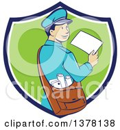 Clipart Of A Retro Cartoon Happy Mail Man Holding An Envelope And Looking Back Over His Shoulder In A Blue White And Green Shield Royalty Free Vector Illustration