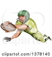 Watercolor Caricature Styled American Football Player In A Touchdown