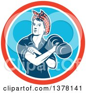 Clipart Of A Retro Woman Rosie The Riveter Rolling Up A Sleeve And Working Out Doing Bicep Curls With A Dumbbell In A Red White And Blue Circle Royalty Free Vector Illustration by patrimonio