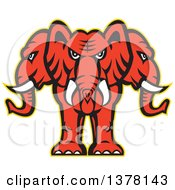 Clipart Of A Retro Red Three Headed Elephant With A Yellow Outline Royalty Free Vector Illustration