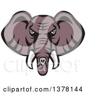 Clipart Of A Retro Mad African Elephant Head Royalty Free Vector Illustration