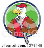 Clipart Of A Cartoon Bald Eagle Mechanic Man Holding A Wrench Emerging From A Blue White And Green Circle Royalty Free Vector Illustration
