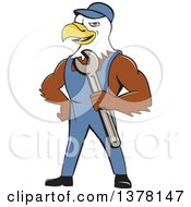 Clipart Of A Cartoon Bald Eagle Mechanic Man Holding A Wrench Royalty Free Vector Illustration