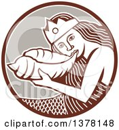 Retro Siren Mermaid Blowing On A Shell In A Brown White And Taupe Circle