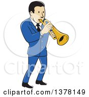 Clipart Of A Retro Cartoon Male Musician Playing A Trumpet And Wearing A Blue Suit Royalty Free Vector Illustration by patrimonio