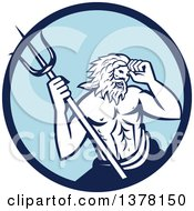Roman Sea God Neptune Or Poseidon With A Trident In A Blue Circle