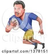 Clipart Of A Watercolor Caricature Styled Rugby Player Running Royalty Free Vector Illustration
