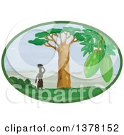 Clipart Of A Lone African Woman With A Basket On Her Head Standing Near A Baobab Tree With A View In An Oval Royalty Free Vector Illustration