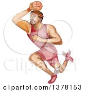 Clipart Of A Watercolor Caricature Styled Basketball Player Dunking Royalty Free Vector Illustration