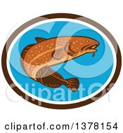 Clipart Of A Retro Swimming Burbot Fish In A Brown White And Blue Oval Royalty Free Vector Illustration