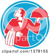 Clipart Of A Retro Red And White Male Waiter Holding A Cloche Platter And Looking Up In A Blue Circle Royalty Free Vector Illustration