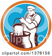 Clipart Of A Retro Male Cheesemaker Pouring A Bucket Of Curd And Whey Into A Vat In An Orange White And Blue Circle Royalty Free Vector Illustration