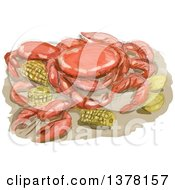 Clipart Of A Watercolor Cajun Seafood Meal With Shrimp Crawfish And Crab Lemon And Corn Cob Royalty Free Vector Illustration by patrimonio