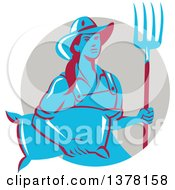 Retro Blue And Red Female Farmer Carrying A Sack And A Pitchfork In A Taupe Circle