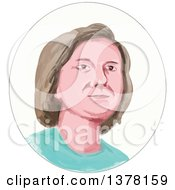Clipart Of A Painted Caricature Styled White Womans Face In An Oval Royalty Free Vector Illustration
