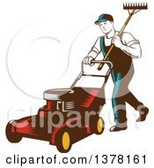 Clipart Of A Retro Woodcut Male Landscaper Carrying A Rake And Pushing A Lawn Mower Royalty Free Vector Illustration