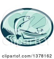 Retro Fly Fisherman Reeling In A Trout Or Salmon Fish From A Boat In A Teal And Green Oval