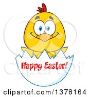 Clipart Of A Yellow Chick In An Egg Shell With Happy Easter Text Royalty Free Vector Illustration
