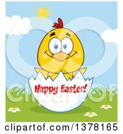 Clipart Of A Yellow Chick In An Egg Shell Over Happy Easter Text On A Sunny Day Royalty Free Vector Illustration