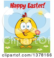 Clipart Of A Yellow Chick Holding A Flower Under Happy Easter Text On A Sunny Day Royalty Free Vector Illustration