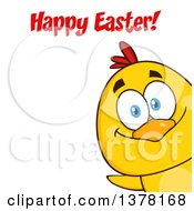 Clipart Of A Yellow Chick Peeking Around A Corner And Saying Happy Easter Royalty Free Vector Illustration