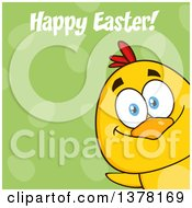 Clipart Of A Yellow Chick Peeking Around A Corner And Saying Happy Easter Over A Green Egg Pattern Royalty Free Vector Illustration