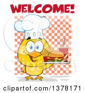 Clipart Of A Yellow Chef Chick Holding A Tray With Fast Food Under Welcome Text Over Checkers Royalty Free Vector Illustration