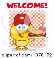 Clipart Of A Yellow Chick Wearing A Baseball Cap And Holding A Tray Of Fast Food Under Welcome Text On Checkers Royalty Free Vector Illustration