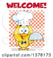 Clipart Of A Yellow Chef Chick Holding A Cloche Platter With Welcome Text Over Checkers Royalty Free Vector Illustration