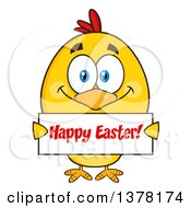 Poster, Art Print Of Yellow Chick Holding A Happy Easter Sign