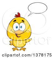 Clipart Of A Yellow Chick Talking And Waving Royalty Free Vector Illustration