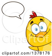 Poster, Art Print Of Yellow Chick Peeking Around A Corner And Talking
